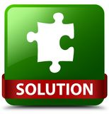 Solution (puzzle icon) green square button red ribbon in middle Stock Images