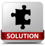 Solution (puzzle icon) white square button red ribbon in middle Stock Photo