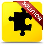 Solution (puzzle icon) yellow square button red ribbon in corner Stock Photo