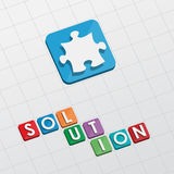 Solution and puzzle piece, flat design Stock Photo