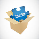 solution puzzle piece inside box Royalty Free Stock Photos
