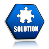 Solution and puzzle sign in blue hexagon banner Stock Images