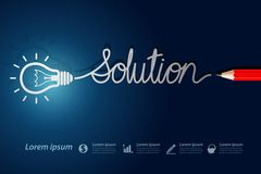 Solution. Red pencil write solution with light bulbs on blue background Royalty Free Stock Images