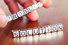 Solution remove problem letters placed on a desk in precious woo Royalty Free Stock Photography