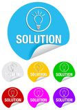 Solution,round stickers Royalty Free Stock Image