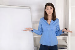 Solution searching businesswoman standing before flip chart. Royalty Free Stock Image