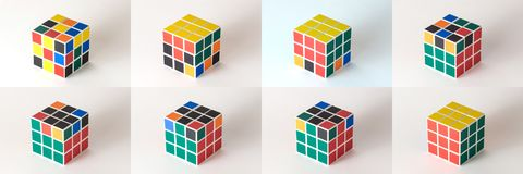 The Rubik`s cube on the white background. The solution sequence from stage one to stage eight Royalty Free Stock Image