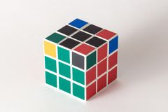 The Rubik`s cube on the white background. The solution sequence stage seven. The object is isolated on white and a clipping path is provided for easy extraction Royalty Free Stock Photos