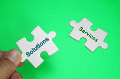 Solution Services text - Business Concept Stock Image