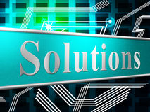 Solution Solutions Shows Advertisement Succeed And Solve. Solution Sign Indicating Resolve Goal And Display stock illustration