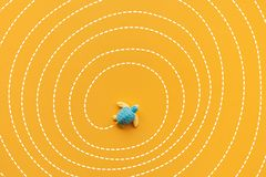Solution and solving concepts with baby turtle moving on maze line.Smart direction for business stock illustration