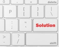 Solution. Solving a problem with solution button on computer, 3d rendering Royalty Free Stock Photos