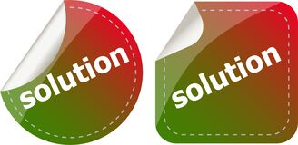 Solution Stickers Set, Icon Button Isolated On White Royalty Free Stock Photo