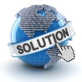 IT solution symbol with digital globe, 3d render Stock Photos