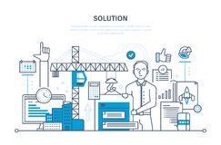 Solution of tasks, business solutions, marketing, planning, application development, software. Royalty Free Stock Image