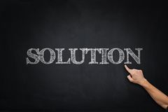 Solution text on blackboard Stock Images