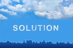 Solution text on clouds Royalty Free Stock Photography