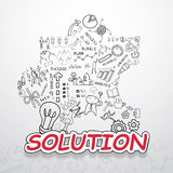 Solution text, With creative drawing charts and graphs business success strategy plan idea, Inspiration concept modern design temp. Late workflow layout, diagram Royalty Free Stock Images