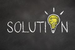 `Solution` text with an idea light bulb on chalk board stock photography