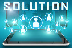 Solution. Text illustration with social icons and tablet computer and mobile cellphones on cyan digital world map background Royalty Free Stock Photography