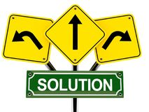 Solution text with road signs Stock Image