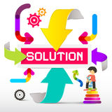Solution Title with Colorful Paper Arrows Stock Images
