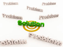 Solution to problems. A single solution to many problems, solution finding and problem solving concept Royalty Free Stock Photos