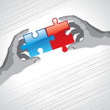 A solution to a two piece jigsaw puzzle. Business problem Royalty Free Stock Images