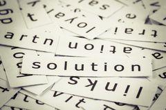 Solution topic. In cut paper on the top of the other words Royalty Free Stock Photo