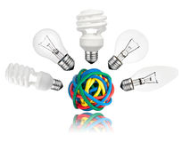 Solution - Various Lightbulbs above colored cables Stock Images