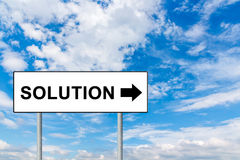 Solution on white road sign Royalty Free Stock Image