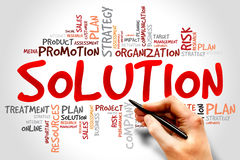 Solution. Word Cloud with Solution related tags Royalty Free Stock Photography
