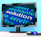 Solution Word On Computer Showing Stock Photography