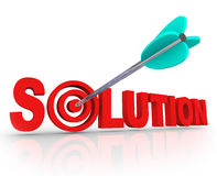 Solution Word 3D Letters Solved Problem Arrow Target Bulls-Eye. The word Solution in red 3D letters and an arrow in a target bulls eye in the letter O to Royalty Free Stock Photos