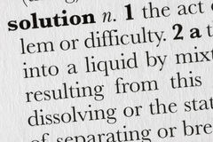 Solution word dictionary defin stock images