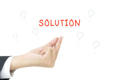 Solution word with hand stock photo