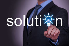 Solution Word Idea Concept on Screen Royalty Free Stock Photo