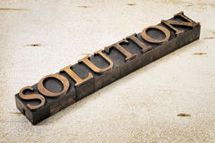 Solution word in letterpress wood type Stock Image