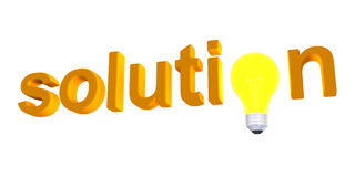 Solution word with light bulb Royalty Free Stock Photos