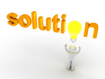 Solution word with light bulb and a person. 3d light bulb replacing letter of solution word and a person below it Stock Images