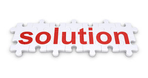 Solution word made of puzzle pieces. Puzzle pieces connected to form a solution word Royalty Free Stock Image