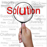 Solution, word in Magnifying glass Royalty Free Stock Images