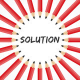 Solution word with pencil background Royalty Free Stock Photography