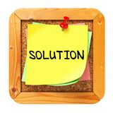 Solution. Yellow Sticker on Bulletin. Stock Image