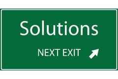 Solutions. Illustration of a green solutions highway sign Stock Photos