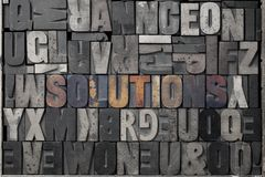 Solutions. The word solutions written out in old letterpress blocks Stock Photo