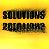 Solutions 3-D Reflected. Solutions Illustration 3-D Reflected on a Yellow Background Stock Photos