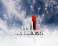 Solutions 3D bar graph. Illustrated 3D bar graph with the word SOLUTIONS on a skyed glossy background Royalty Free Stock Image
