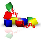 Solutions. Red, yellow, blue and green blocks support and dump out letters spelling solutions. Slight reflection on white back ground Royalty Free Stock Photography
