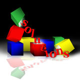 Solutions. Red, yellow, blue and green blocks support and dump out letters spelling solutions. Slight reflection on white shiny surface with a black back ground Royalty Free Stock Images
